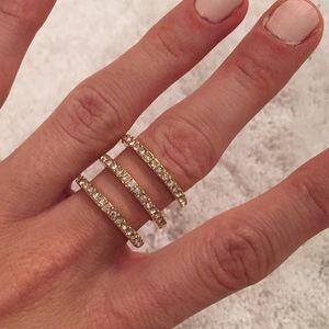Triple Ring- Rhinestone & Gold